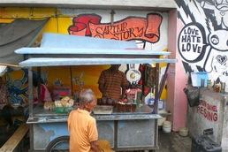 Love - Hate - Love: Emotions occur during fieldwork. The picture shows a mobile snack bar on the island of Java.