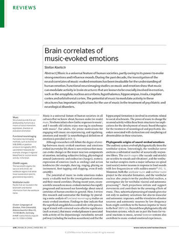 Koelsch, S.  (2014): Brain correlates of music-evoked emotions Nature Reviews Neuroscience 15, 170–180, doi:10.1038/nrn3666